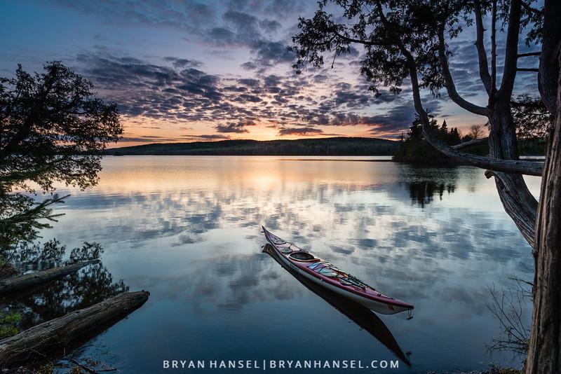Kayak on Two Island at Sunset