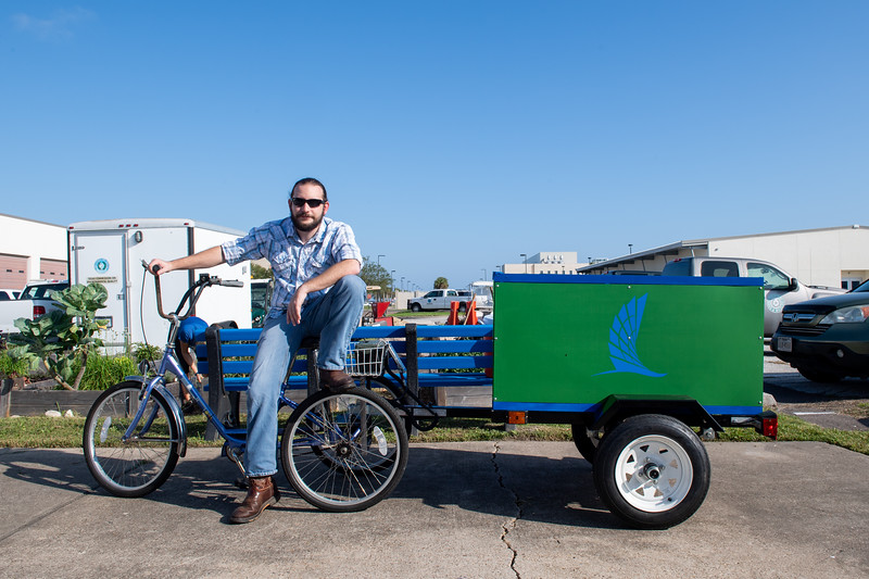 Tyler Allen, one of the students that took part in designing the Islander Green Team's new bike and trailer. The new design was part of a Mechanical Engineering Senior Capstone Project.