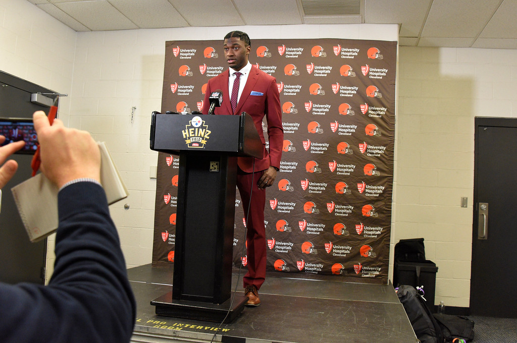 . Cleveland Browns quarterback Robert Griffin III during a press conference following an NFL football game against the Pittsburgh Steelers on Sunday, Jan. 1, 2017, in Pittsburgh . Pittsburgh won 27-24.(AP Photo/Don Wright)