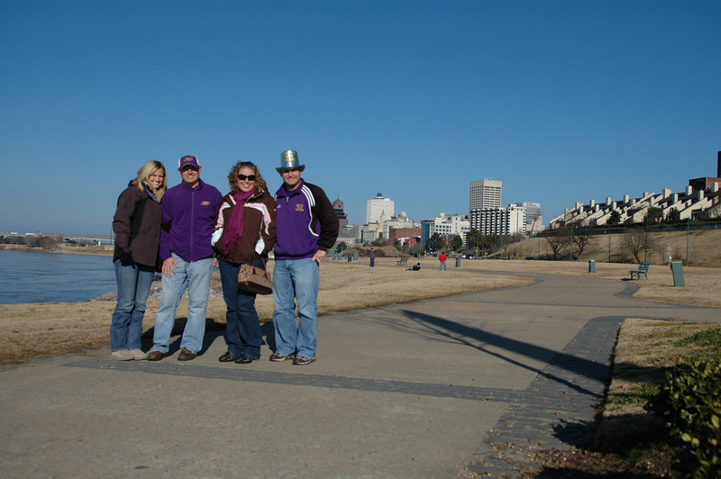 Stephanie, JG, Lauren, Jon along the Mississippi with the Memphis skyline in the background.