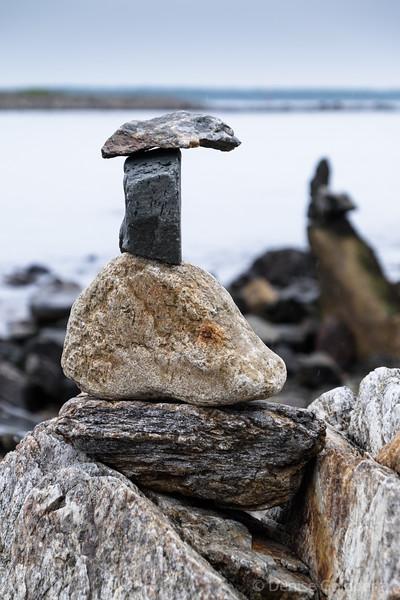 stacked rocks, along the New Hampshire coast