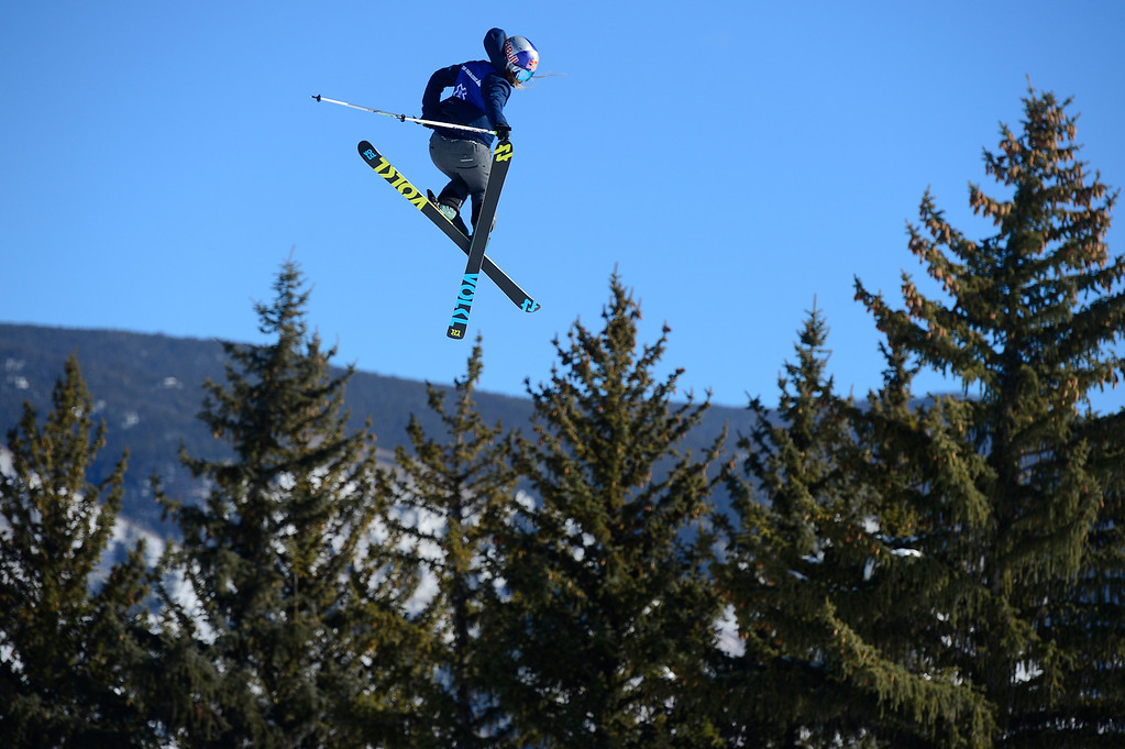 . Emma Dahlstrom of Sweden, makes a grab over the last jump of her final run during the Women\'s Ski Slopestyle Finals at Winter X Games 2016 at Buttermilk Mountain on January 29, 2016 in Aspen, Colorado. Kelly Sildaru, 13, won the event with her first run bringing in a score of 93, making her the youngest female to ever win gold at Winter X Games. (Photo by Brent Lewis/The Denver Post)