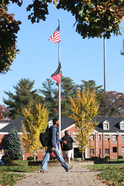Gardner-Webb University students walking across the campus on a Fall day.