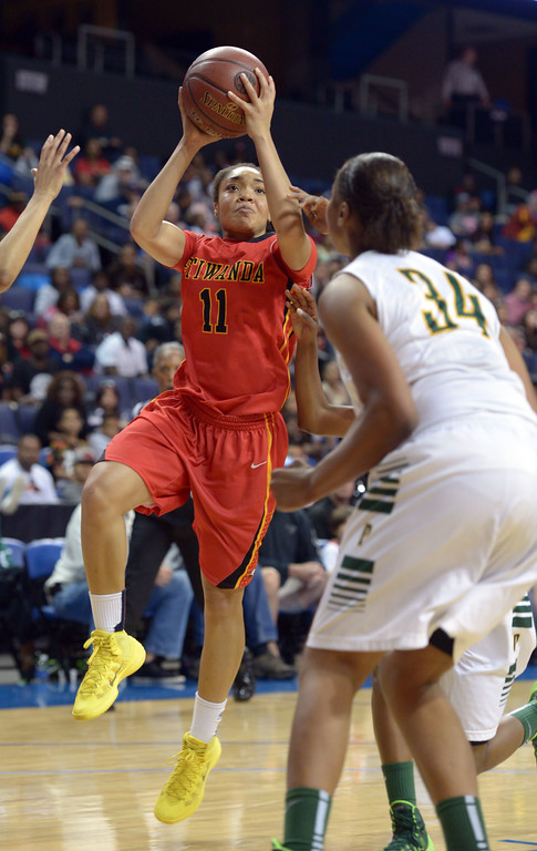 . Etiwanda\'sCherice Harris shoots at Citizens Business Bank Arena in Ontario, CA on Saturday, March 22, 2014. Long Beach Poly vs Etiwanda in the CIF girls open division regional final. 2nd half, Poly won 56-46. Photo by Scott Varley, Daily Breeze)