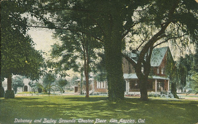 Doheney [sic] and Bailey grounds, Chester Place, Los Angeles, California.