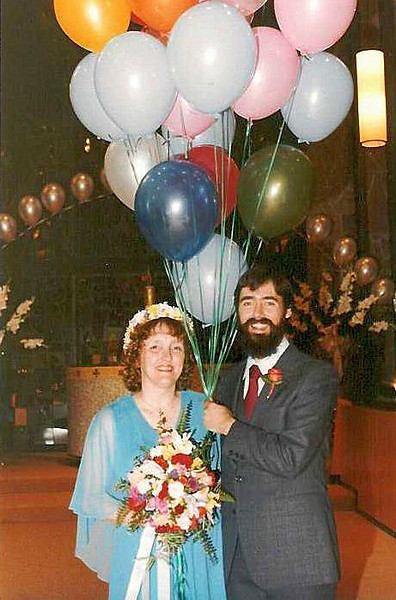 The big day - September 13, 1981. We're still hanging in there despite mother-in-law's predictions of dire consequences if we were married on the 13th.