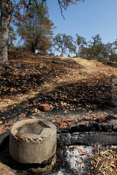 The tee at hole No. 18. The Peregrine Point Disc Golf Course was scorched by the Stoney Fire. The charred course is seen Tuesday, Aug. 14, 2018, in Chico, California. (Dan Reidel -- Enterprise-Record)