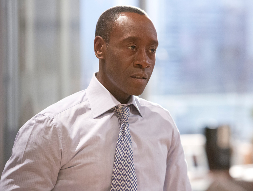 ". This publicity image released by Showtime shows Don Cheadle as Marty Kaan in ""House of Lies.\"" Cheadle was nominated for an Emmy Award for best actor in a comedy series on, Thursday July 18, 2013. The Academy of Television Arts & Sciences\' Emmy ceremony will be hosted by Neil Patrick Harris. It will air Sept. 22 on CBS. (AP Photo/Showtime, Michael Desmond)"