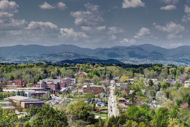 Dahlonega, Ga. with a bacdrop of the Blue Ridge Mountains.