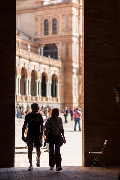 People entering Plaza de España square, Seville