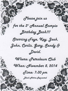 Scorpio Birthday Bash Nov 8, 2014