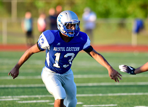 9/14/2018 Mike Orazzi | Staff Bristol Eastern High School's Dandre Wiggins (13) during Friday night's football game with Middletown in Bristol.