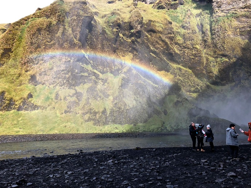 Skogafoss with rainbow in the mist