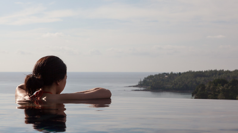 Enjoying the infinity pool and view of town and the beaches.