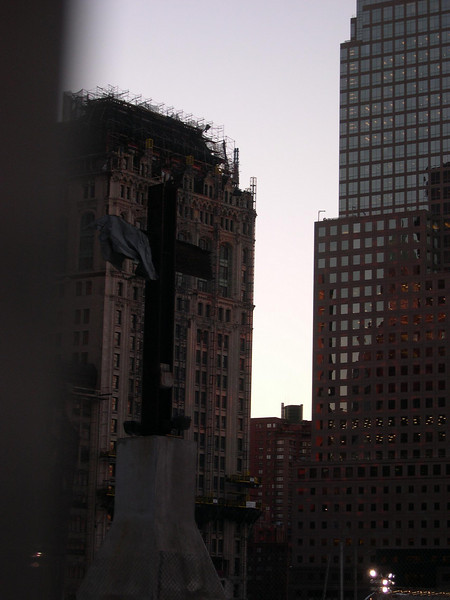 Building across from World Trade Center site undergoing repair.