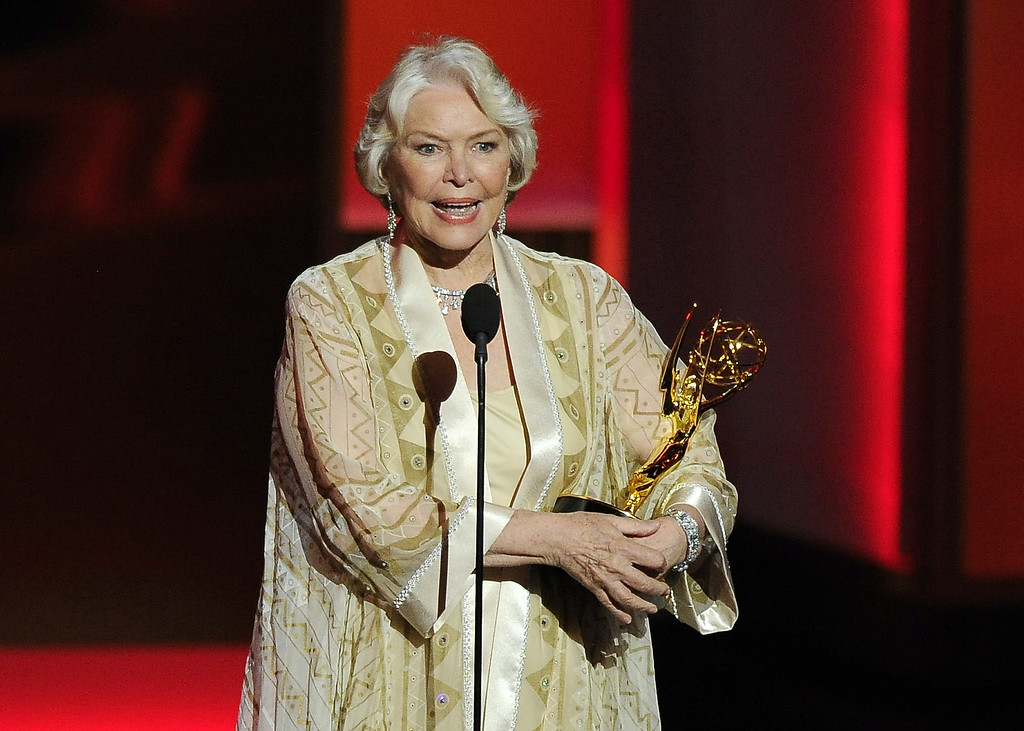 . Ellen Burstyn accepts the award for outstanding supporting actress in a miniseries or a movie for her role on ìPolitical Animalsî at the 65th Primetime Emmy Awards at Nokia Theatre on Sunday Sept. 22, 2013, in Los Angeles.  (Photo by Chris Pizzello/Invision/AP)
