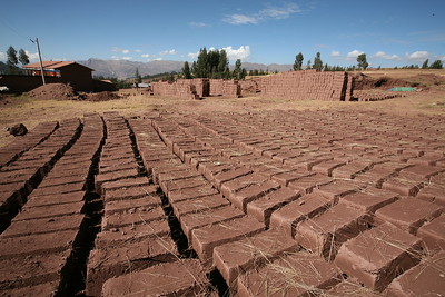 PUMAMARKA, CUSCO, PERU - Adobe bricks drying.