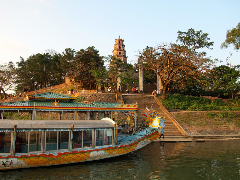 Dragon boats at Thiên Mụ Pagoda