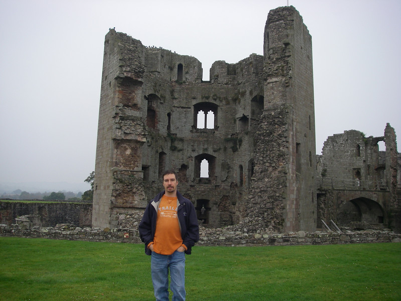 In front of the main tower at Castle Rhaglan