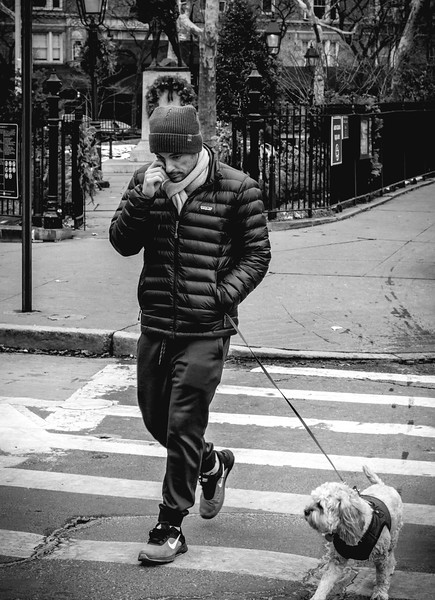 Walking dog bnw.jpg