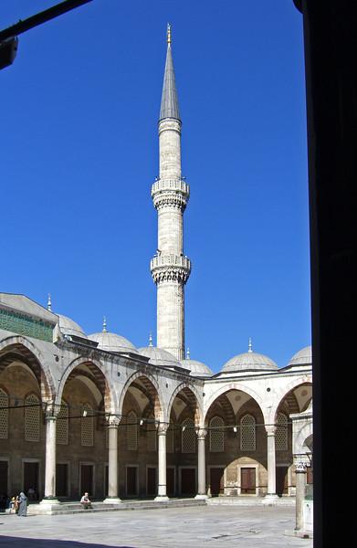 136. Courtyard and minaret, Blue Mosque.