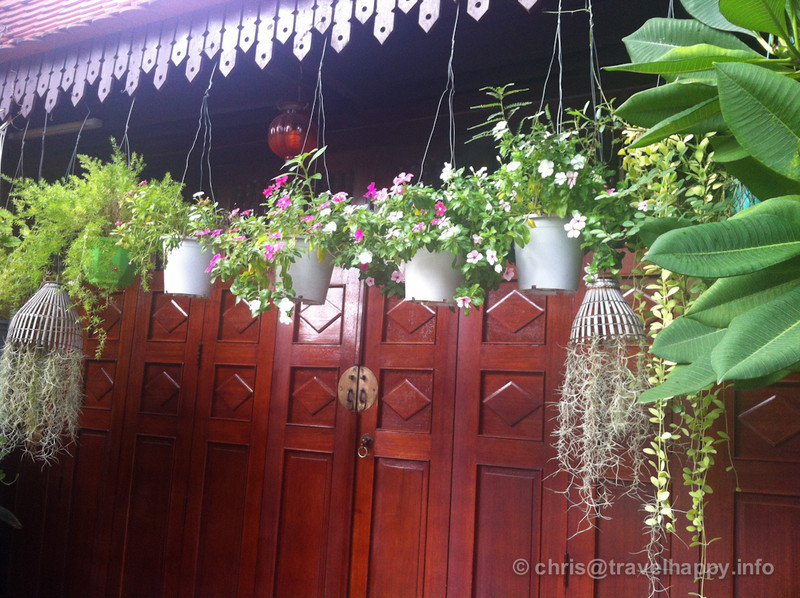 Flowerpots and wooden doors, Phnom Penh