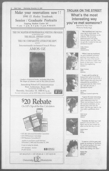 Daily Trojan, Vol. 110, No. 51, November 15, 1989