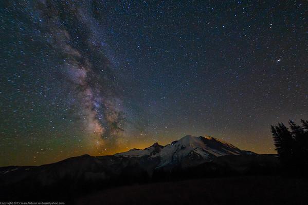 Mt Rainier, Milky Way, July 18, 2015