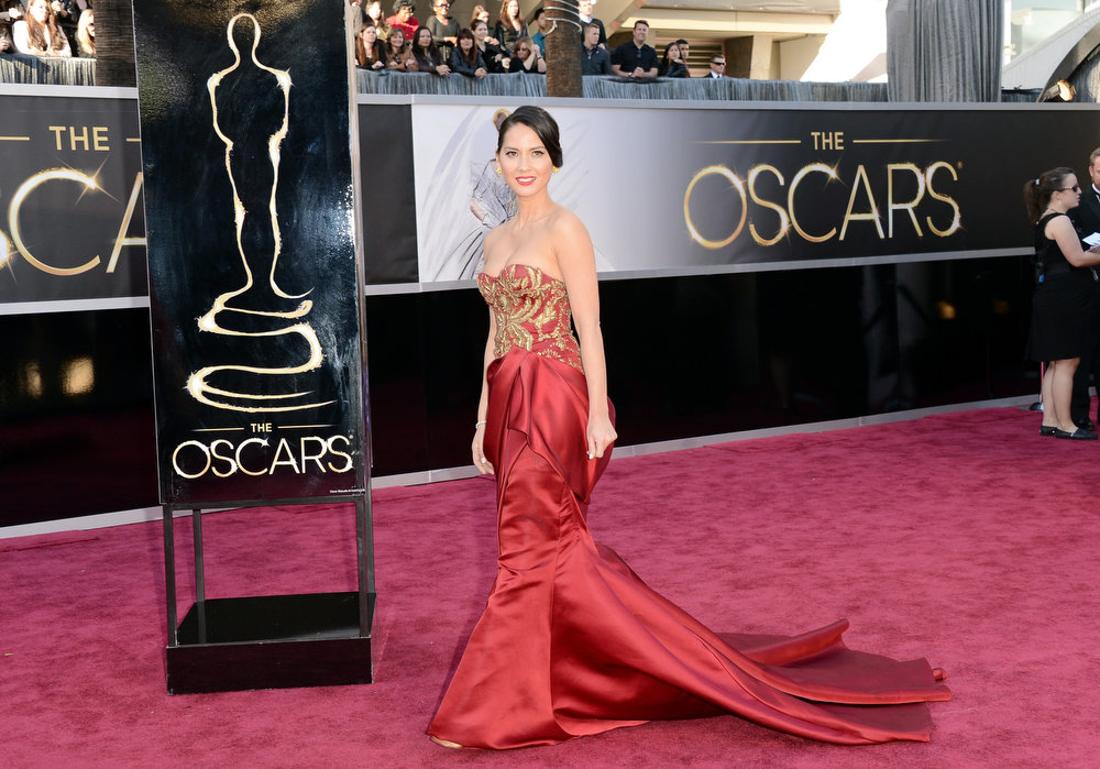 Description of . Actress Olivia Munn arrives at the Oscars at Hollywood & Highland Center on February 24, 2013 in Hollywood, California.  (Photo by Jason Merritt/Getty Images)