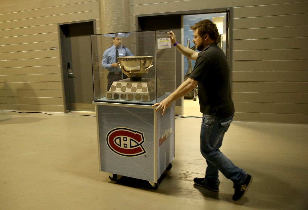 . MONTREAL, QC - MAY 17:  The Molson Cup is seen in the tunnel before Game One of the Eastern Conference Finals of the 2014 NHL Stanley Cup Playoffs between the New York Rangers and the Montreal Canadiens at the Bell Centre on May 17, 2014 in Montreal, Canada.  (Photo by Bruce Bennett/Getty Images)
