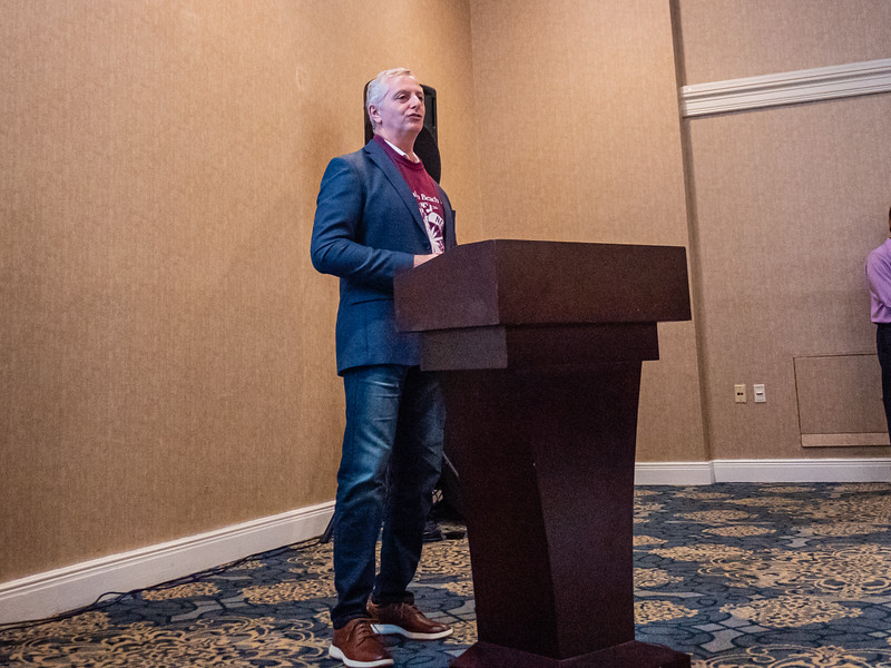 Nick Moshella, Editor of the Palm Beach Post talks to students before the start of the High School Journalism Workshop, hosted by the Palm Beach Post at the Airport Hilton in West Palm Beach on Thursday, December 5, 2019. [JOSEPH FORZANO/palmbeachpost.com]