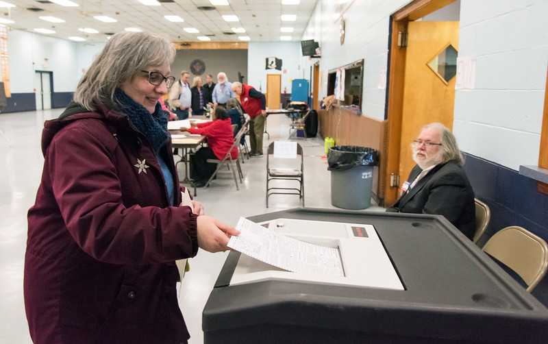 02/26/19  Wesley Bunnell   Staff  Approximately 120 voters as of 2:00pm at the VFW Post 511 Memorial Hall voting location for the 6th state Senate District seat.  Cathy Teti enters her vote into the tabulation machine.