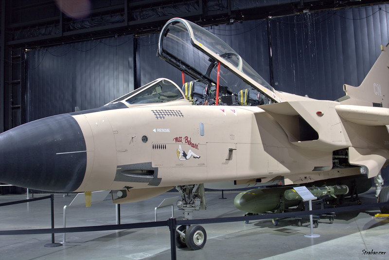 """National Museum of the United States Air Force, Dayton, Ohio,   04/13/2019  Panavia Tornado GR.1 C/N 178/BS056/3088  ZA374   """"Miss Behavin'""""   Painted as an aircraft assigned to 617 Squadron  This work is licensed under a Creative Commons Attribution- NonCommercial 4.0 International License."""