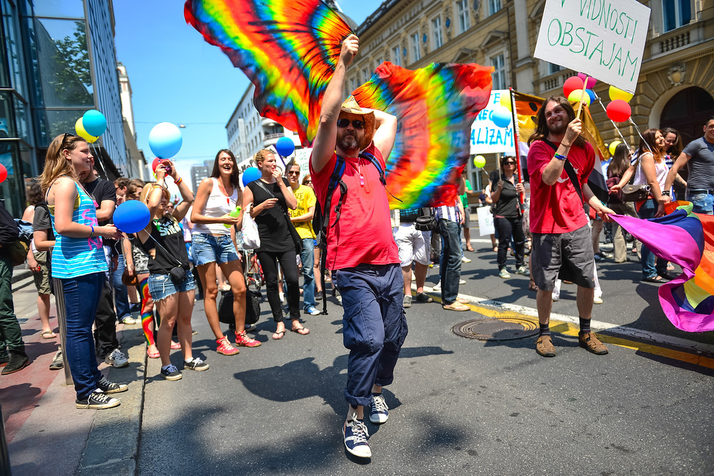 . A man gestures during the Gay Pride Parade in Ljubljana, Slovenia, on June 15, 2013. AFP PHOTO / JURE  Makovec/AFP/Getty Images