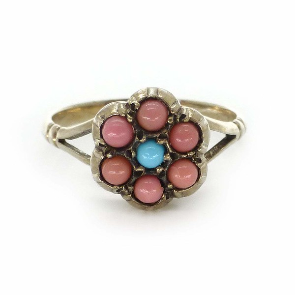 Vintage Silver Turquoise Coral Flower Dress Ring