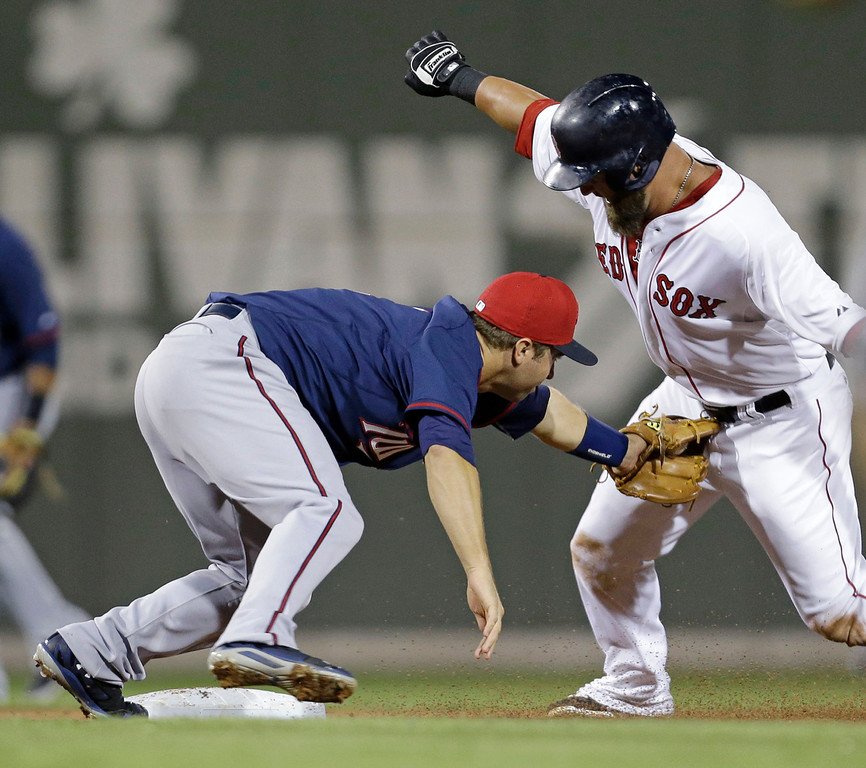 . Boston Red Sox Mike Napoli, right, is tagged out at second by Minnesota Twins second baseman Brian Dozier while trying to stretch his hit into a double in the fourth inning. (AP Photo/Gerald Herbert)