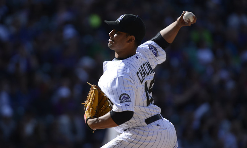 . Colorado Rockies Jhoulys Chacin (45) delivers a pitch against the San Diego Padres in the 5th inning April 7, 2013 at Coors Field. (Photo By John Leyba/The Denver Post)