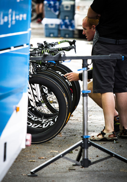 Prepping the bikes