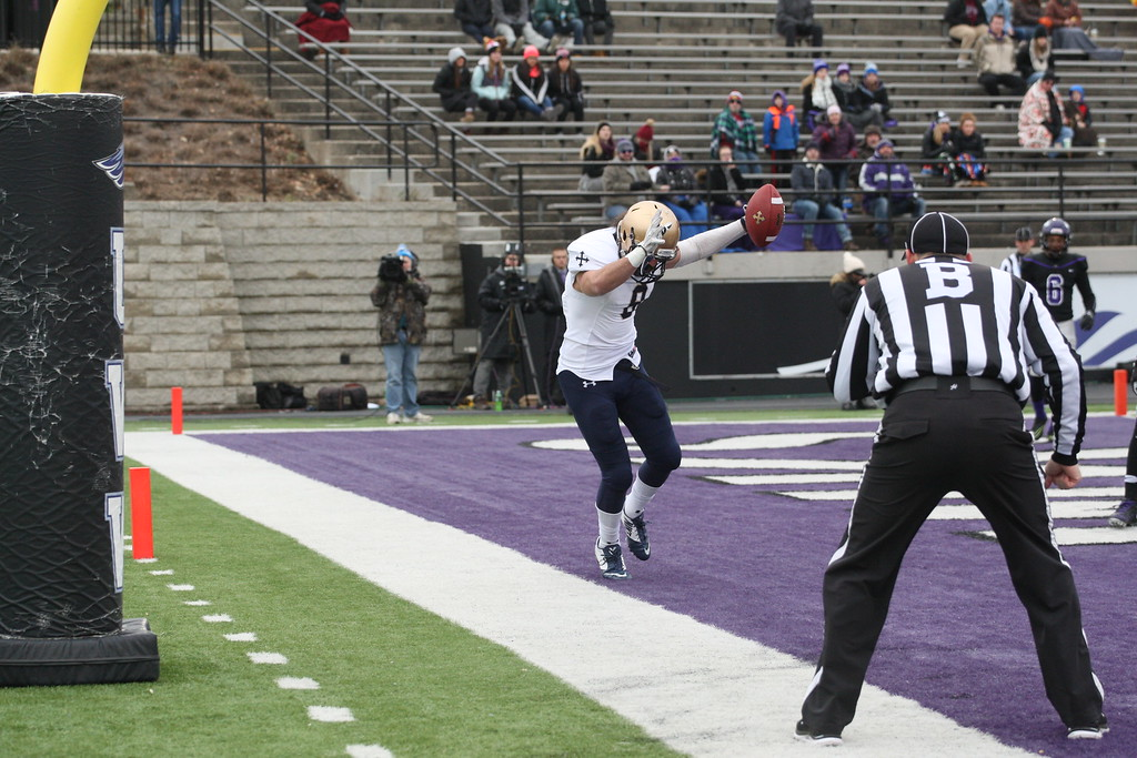 . John Reid - The News-Herald Nico James keeps his feet inbounds for a TD during John Carroll\'s win over Wisconsin-Whitewater on Dec. 3.