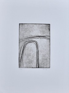 """Curved Lines #1 by Riley, (10/35) etching on 15""""x11"""" paper"""
