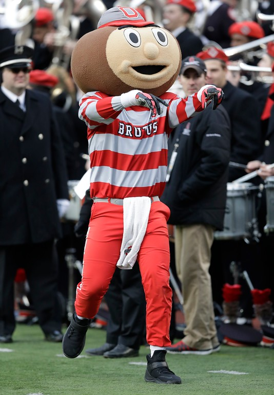 . Ohio State mascot Brutus Buckeye walks the sidelines during the second half of an NCAA college football game against Michigan, Saturday, Nov. 25, 2017, in Ann Arbor, Mich. (AP Photo/Carlos Osorio)