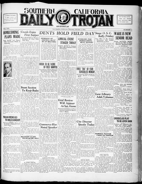 Southern California Daily Trojan, Vol. 21, No. 13, October 03, 1929