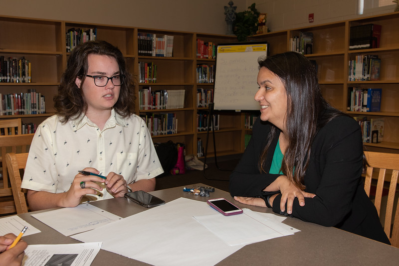 Jonathan Maul (left) and Mara Barbosa at the Spanish event at the library.
