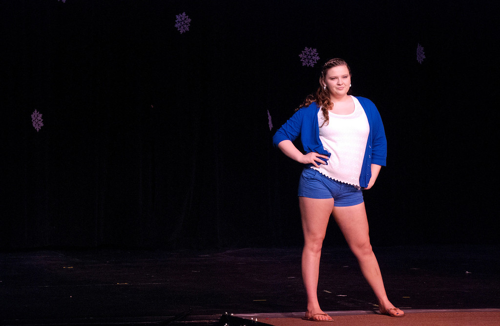 . Kayla Rice/Reformer Taylor Wyckoff poses on the runway during the 2014 Brattleboro Winter Carnival\'s Queen\'s Pageant on Friday night.