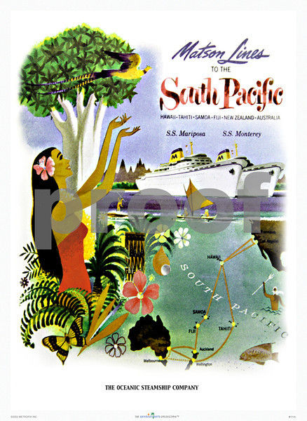 111: 'See The Pacific' Hawaiian cruise line travel poster. Ca. 1950. (PROOF watermark will not appear on your print)