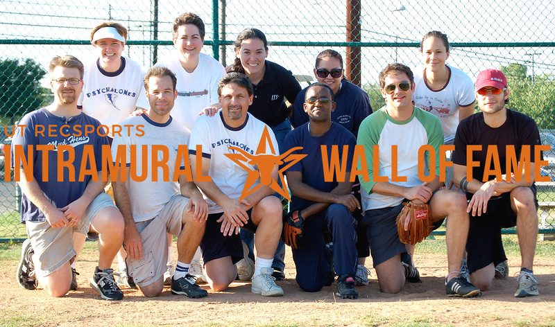 SOFTBALL Student Affairs Champion  PSYCHALONES  R1: Chris Brownson, Mike Bergman, Greg Keilin, Pius Nyutu, Eric Jannazzo, Jeremy Sharp R2: Gail Goodman, Lynne Milburn, Rebecca Campos, Marissa Canales, Lauren Melendres  Not Pictured: Heather Davies Lynne Levinson