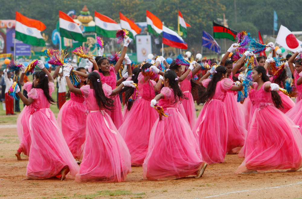 . Indian school children perform during  India\'s Independence Day celebrations in Hyderabad, India, Thursday, Aug. 15, 2013. (AP Photo/Mahesh Kumar A.)