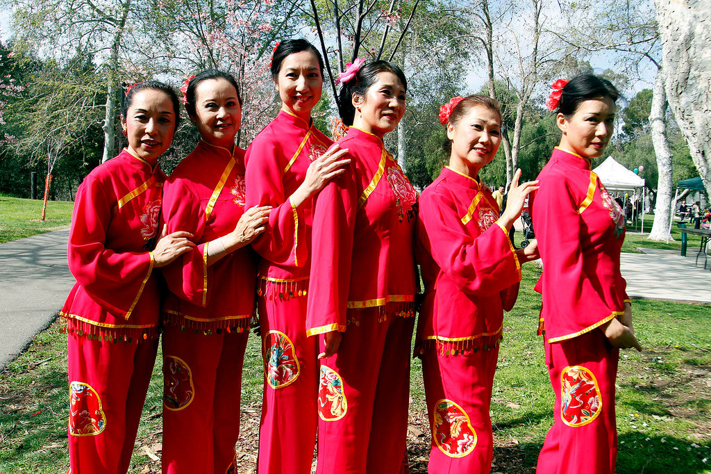 """. \""""The Fair Ladies,\"""" Chinese Classical Dancers, pose for a picture during the Cherry Blossom Festival, at Schabarum Park in Rowland Heights, Saturday, March 9, 2013. The Cherry Blossom Festival included Japanese and Korean drumming, Classical Chinese and Hawaiian Hula dancing, as well as Mexican and Dragon dancing. (Correspondent Photo by James Carbone/SVCITY)"""
