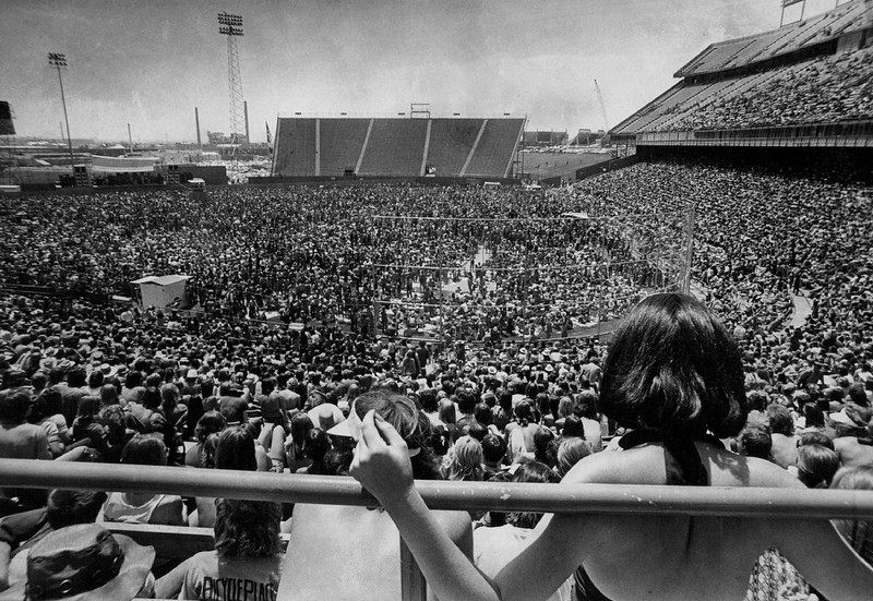 . First Rock Concert In Five Years At Mile High Stadium Attracts Sunworshippers; A crowd of 39,200 watched three Southern rock bands in a concert sponsored by Barry Fey Presents.;  (Photo By John Beard/The Denver Post