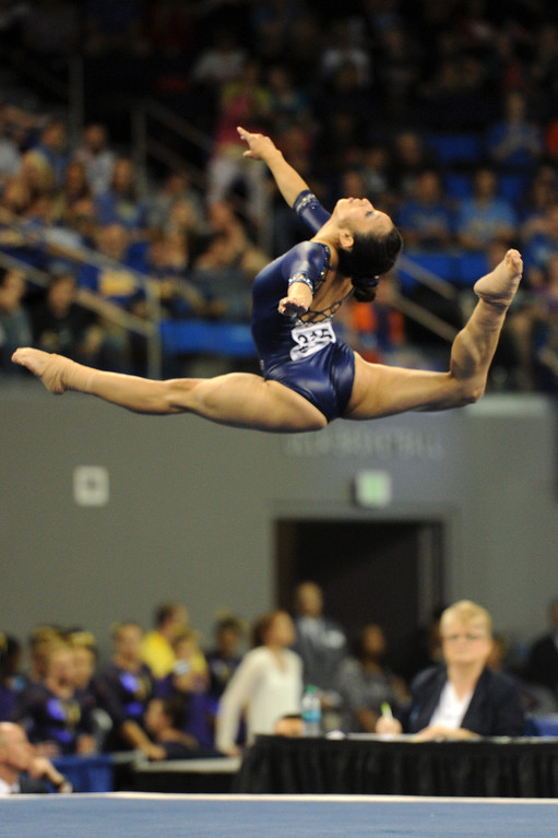 . UCLA\'s Vanessa Zamarripa performs a floor exercise at the NCAA Women\'s Gymnastics Championship Team Finals at Pauley Pavilion, Saturday, April 20, 2013. (Michael Owen Baker/Staff Photographer)